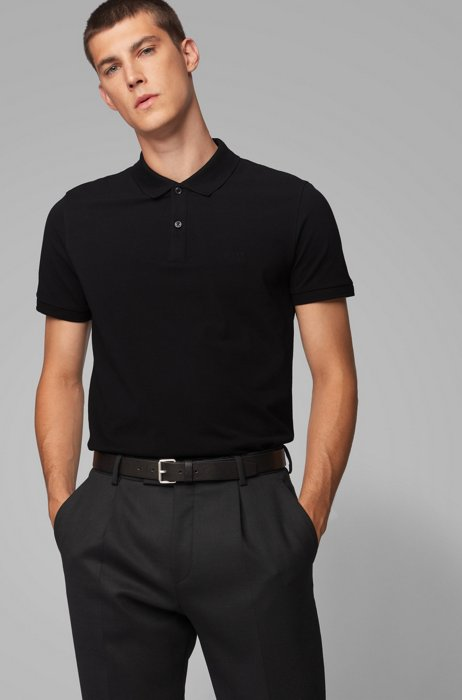 Regular-fit polo shirt in Pima-cotton piqué, Black