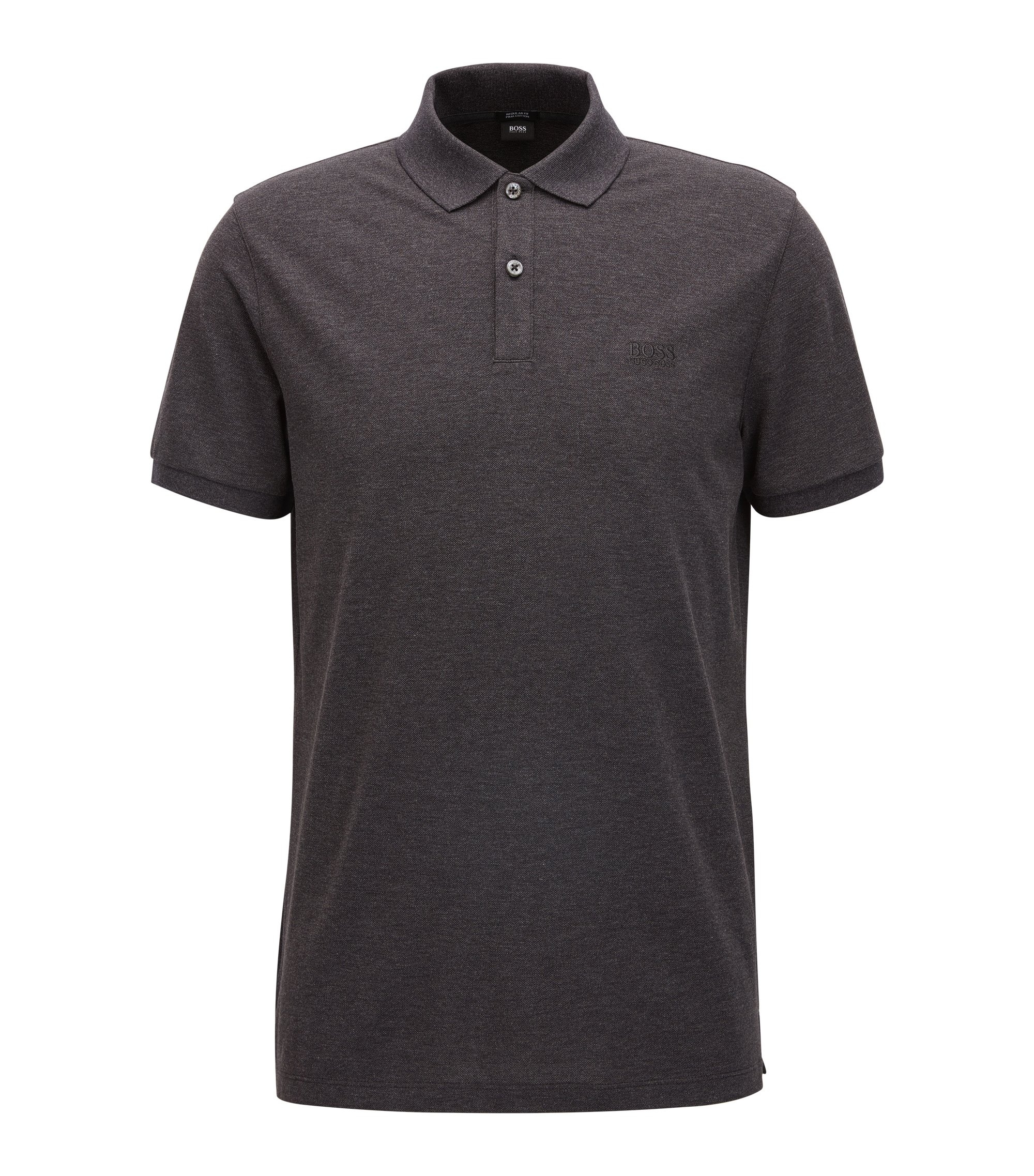Polo regular fit en piqué fino, Gris marengo