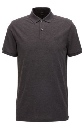 Regular-fit polo shirt in fine piqué, Anthracite