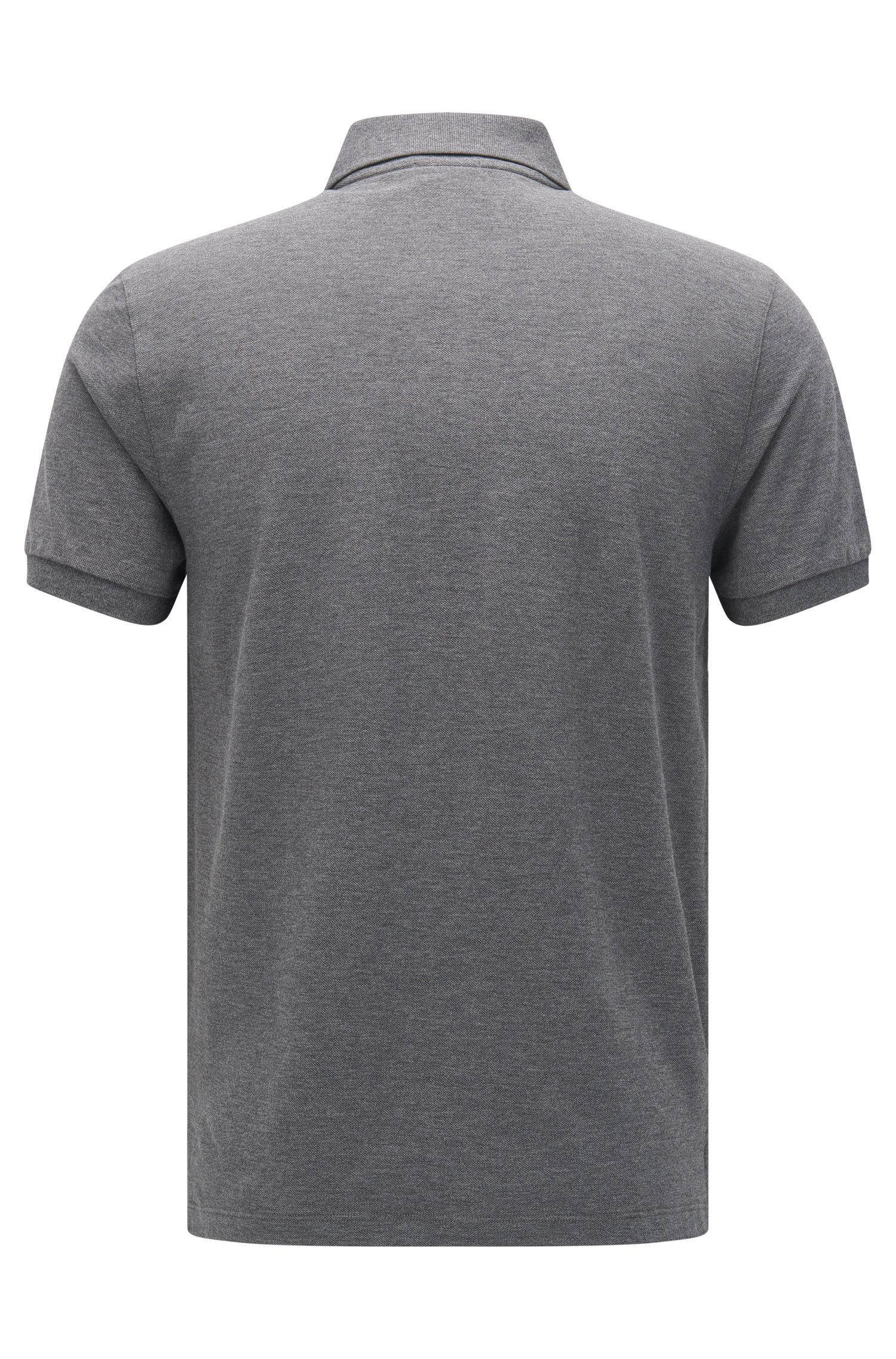 Regular-fit polo shirt in fine piqué, Grey
