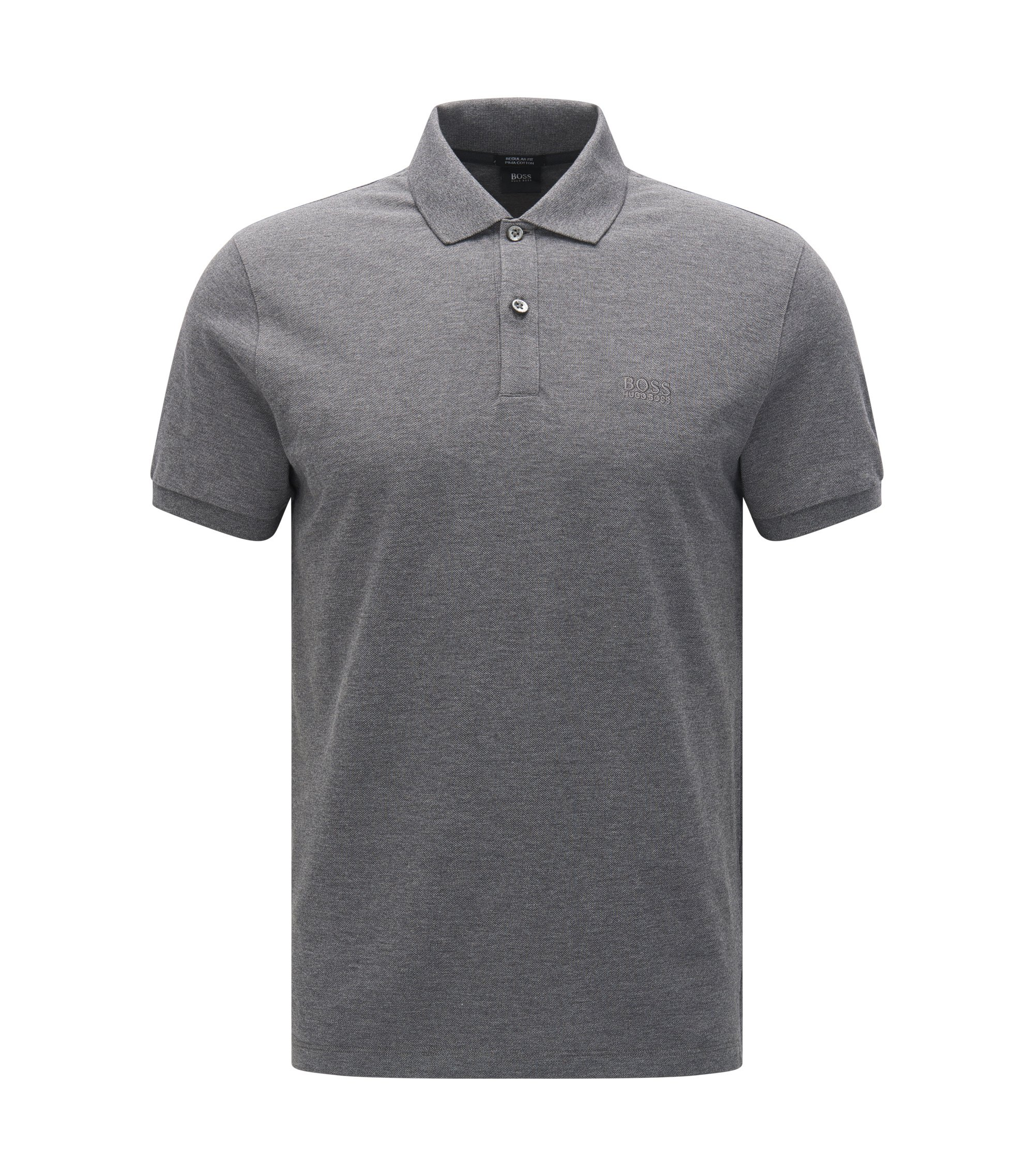 Polo Regular Fit en piqué fin, Gris