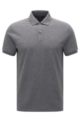 Polo regular fit en piqué fino, Gris