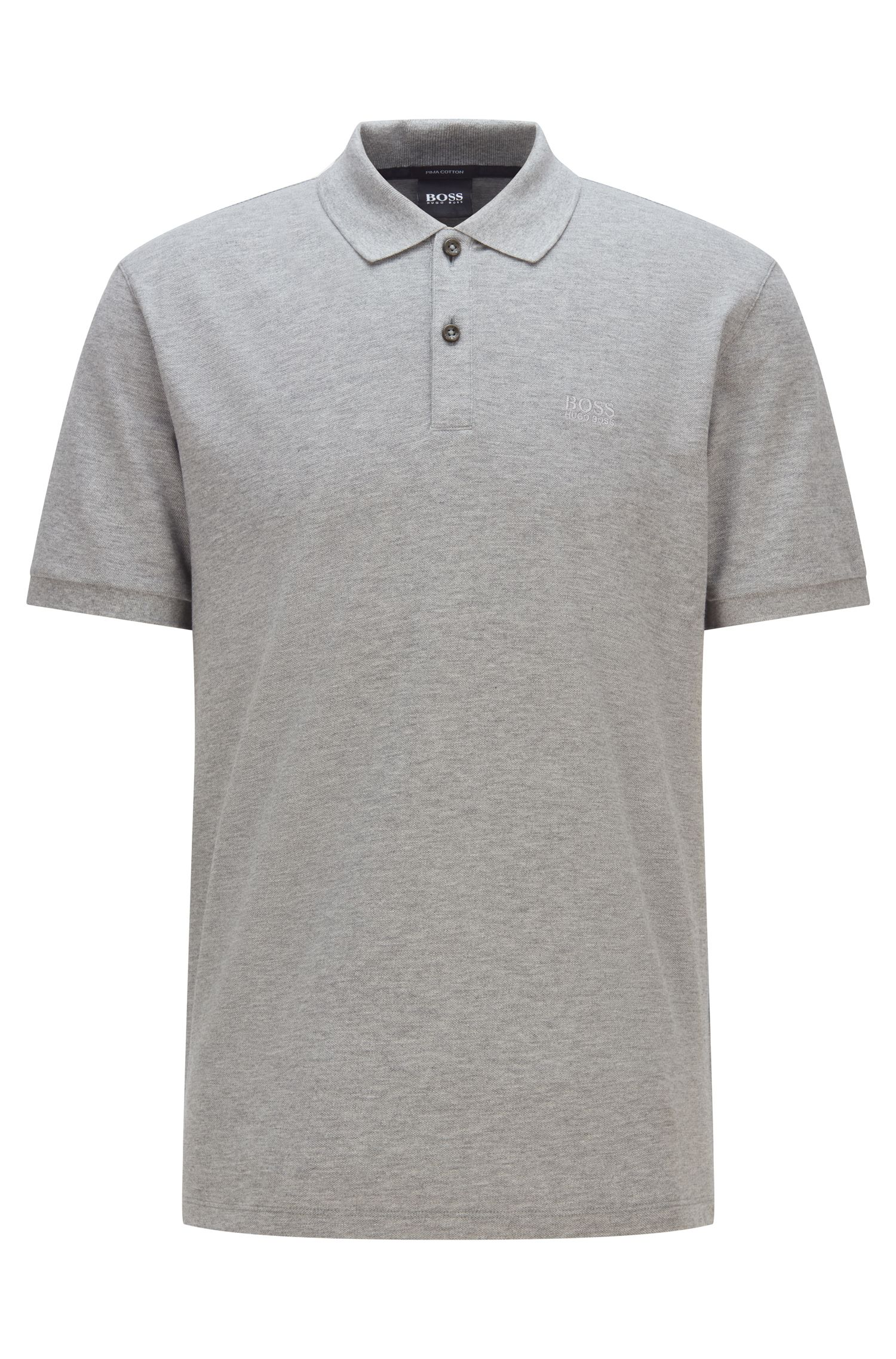 Regular-fit polo shirt in fine piqué, Silver