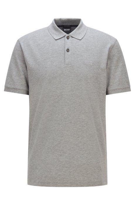 Regular-fit polo shirt in fine piqué, Silver