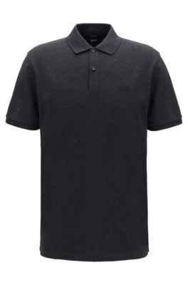Polo regular fit en piqué fino, Gris oscuro