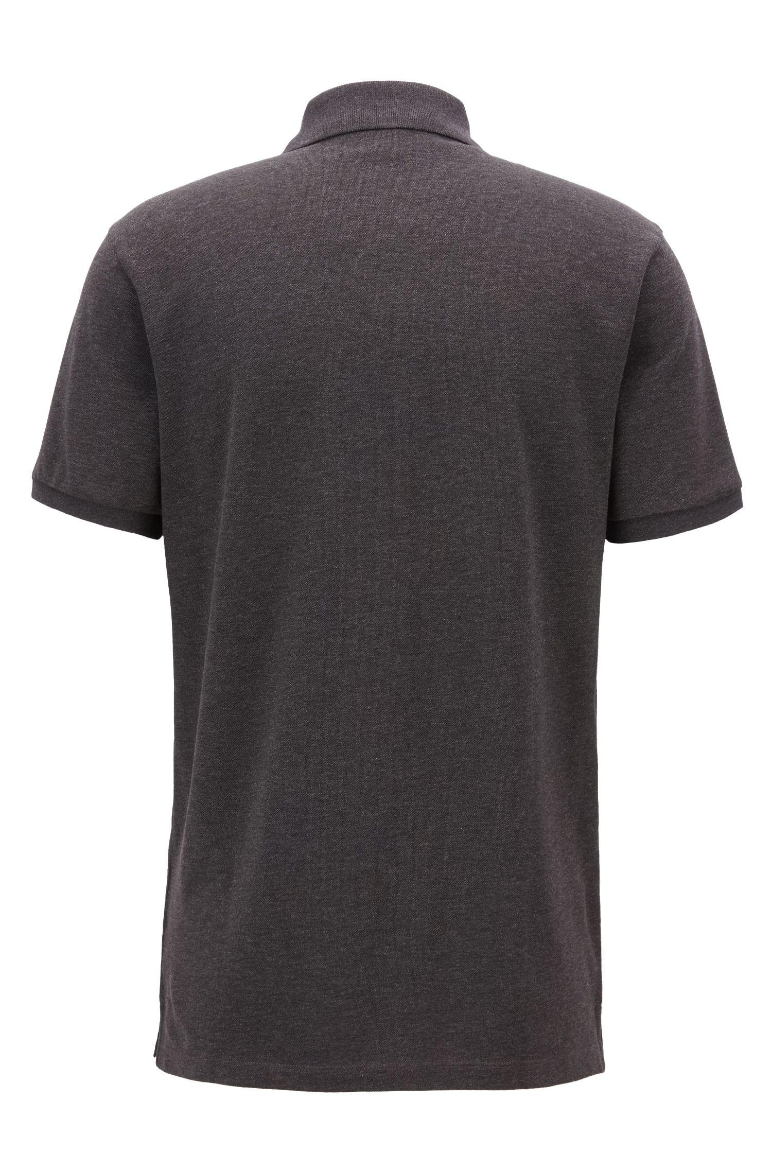 Regular-fit polo shirt in fine piqué, Dark Grey
