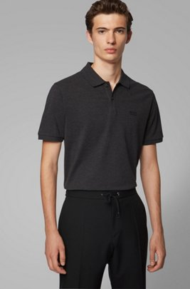 Regular-fit polo shirt in fine piqué, Dark Grey