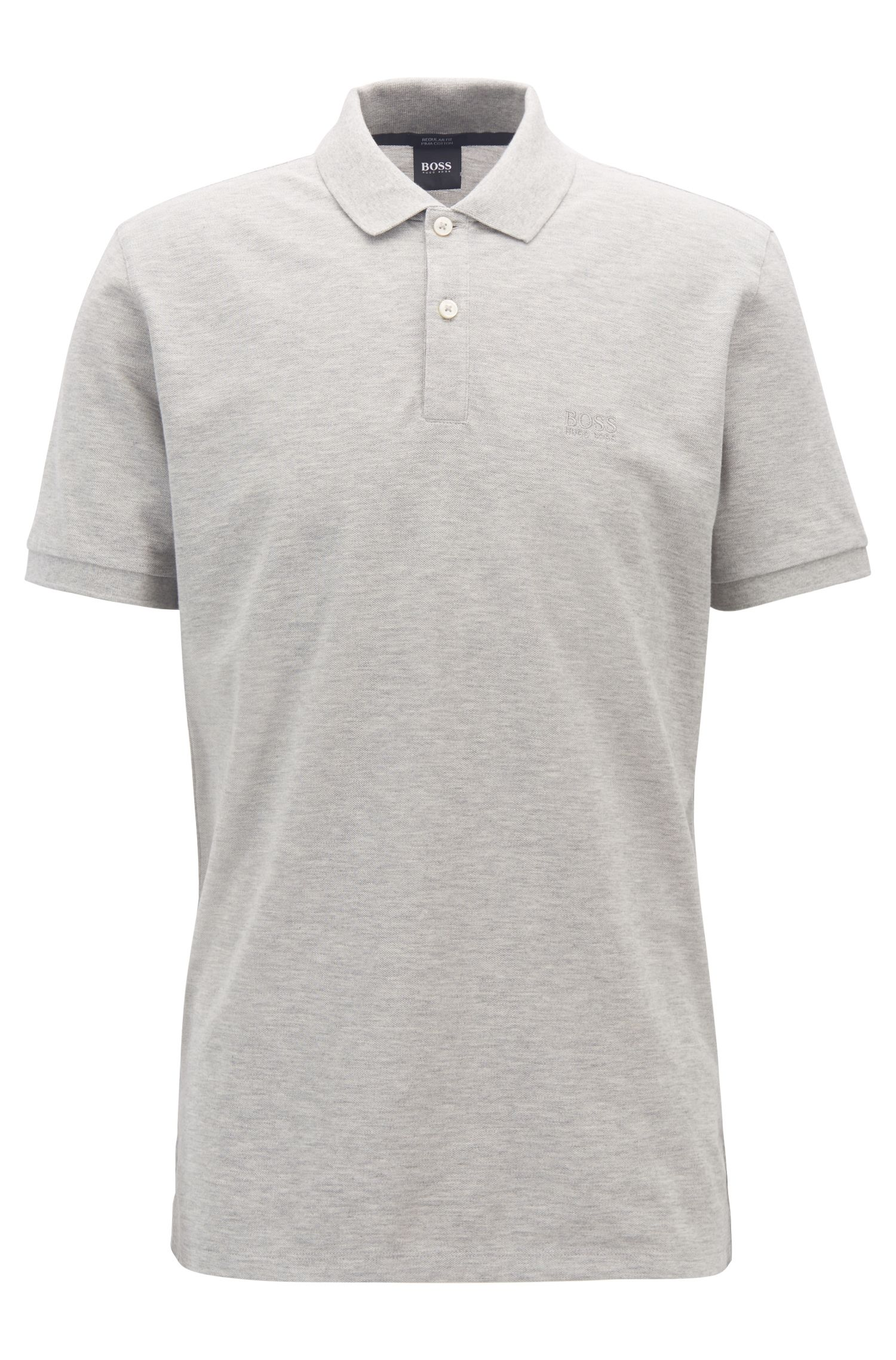 Polo regular fit en piqué fino, Gris claro