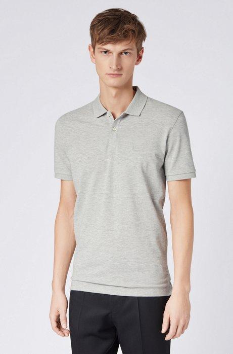 Regular-fit polo shirt in fine piqué, Light Grey