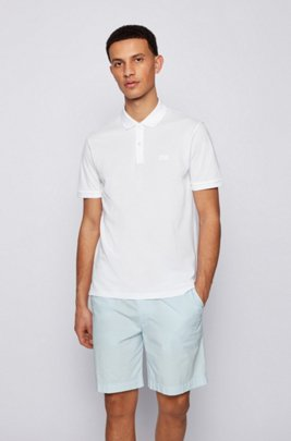 Polo Regular Fit en piqué fin, Blanc