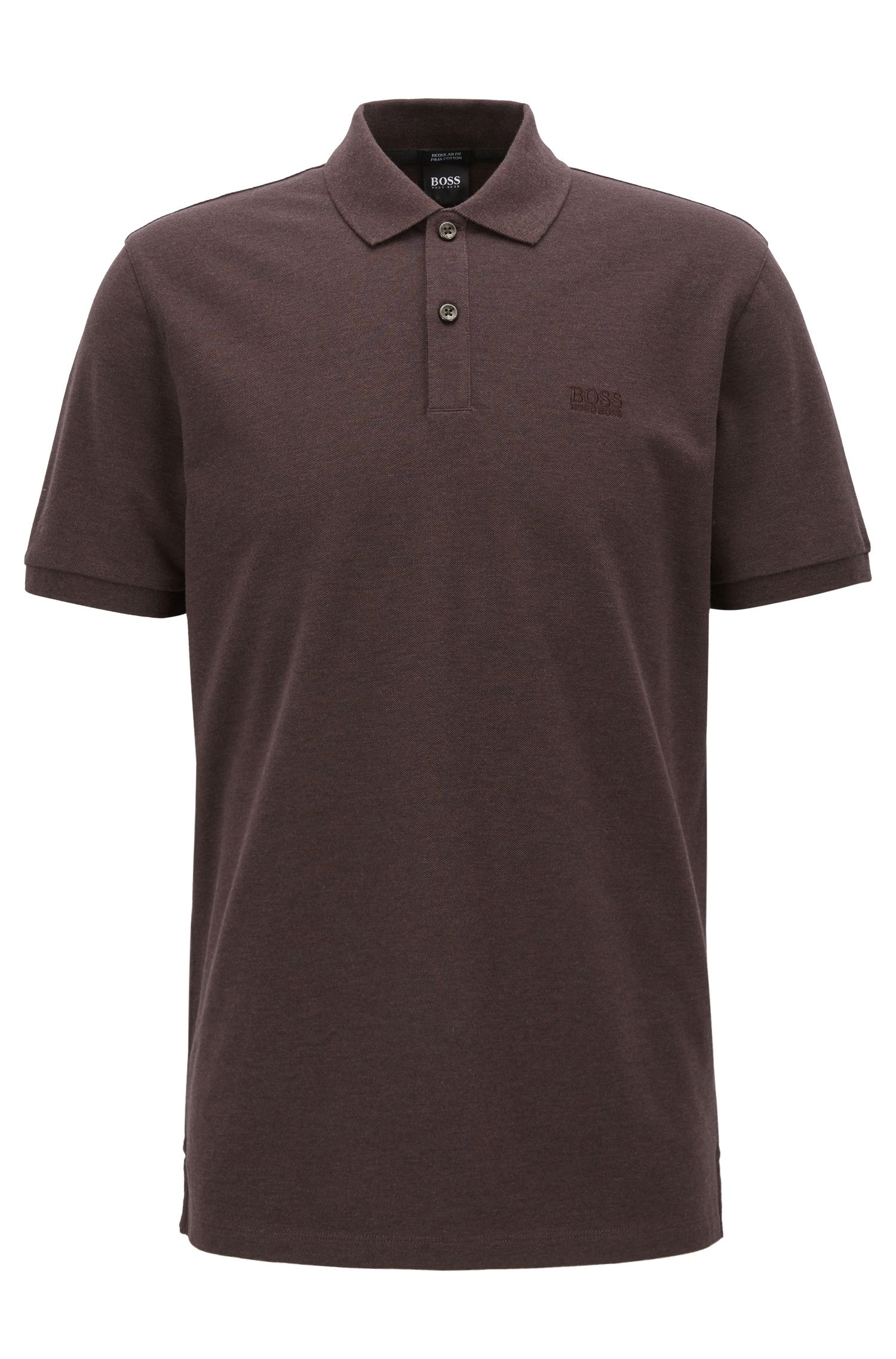 Polo regular fit en piqué fino, Marrón oscuro