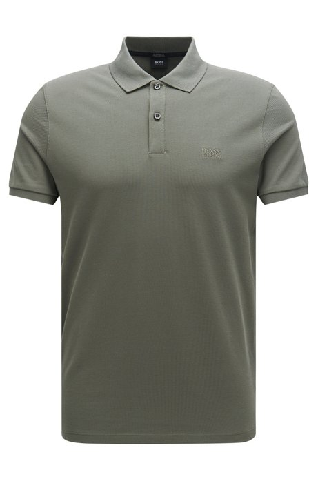 Regular-fit polo shirt in fine piqué, Dark Green