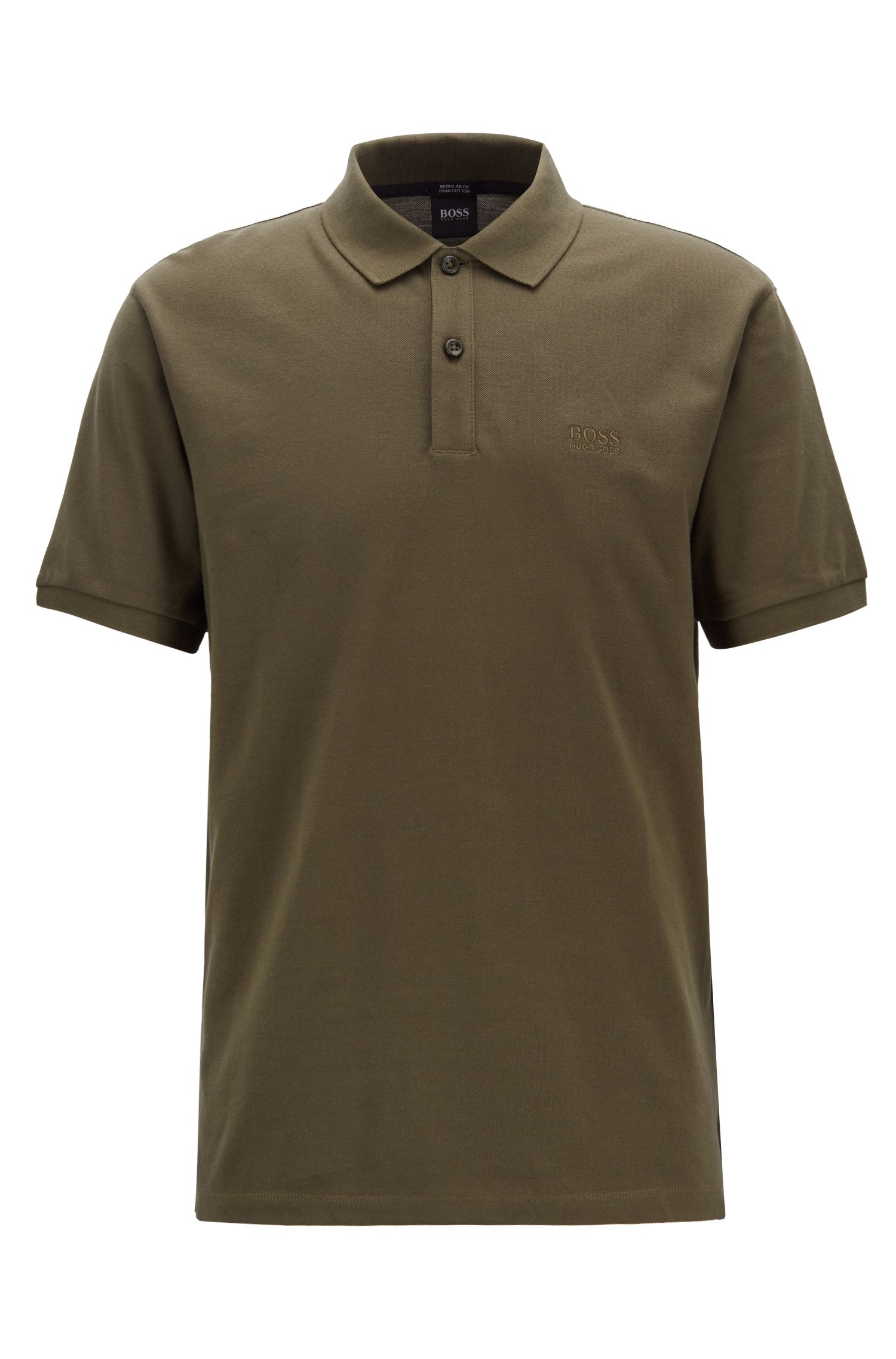 Polo regular fit en piqué fino, Verde oscuro