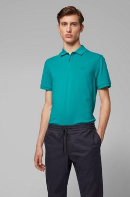 Polo regular fit en piqué fino, Verde