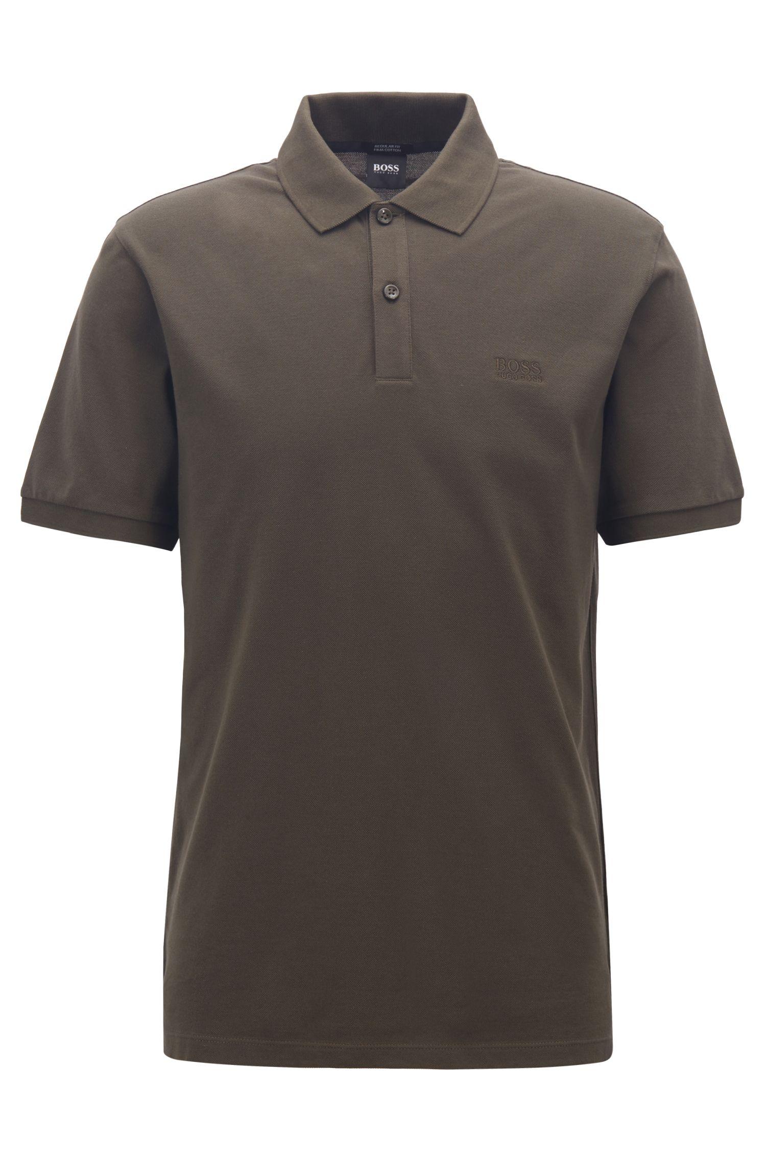 Regular-Fit Poloshirt aus feinem Piqué, Dunkelgrün