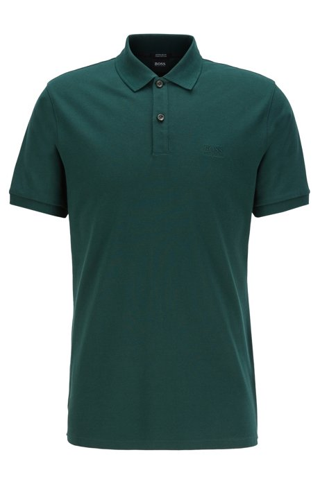 Regular-fit polo shirt in fine piqué, Green