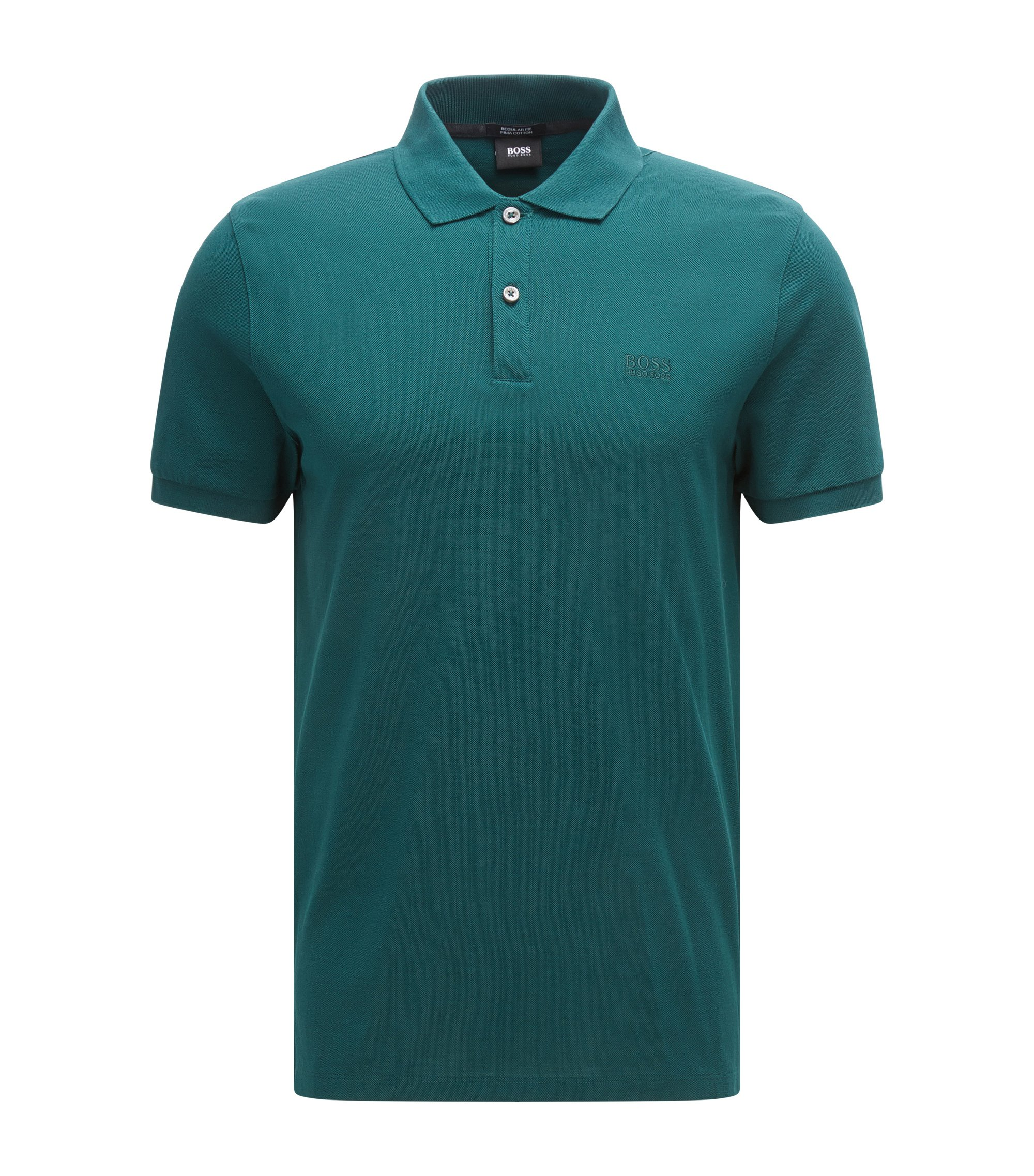 Polo regular fit in piqué elegante, Verde scuro