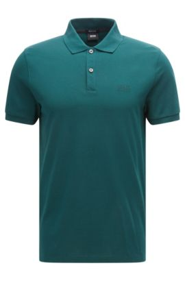Regular-fit polo shirt in fine piqué, Open Green