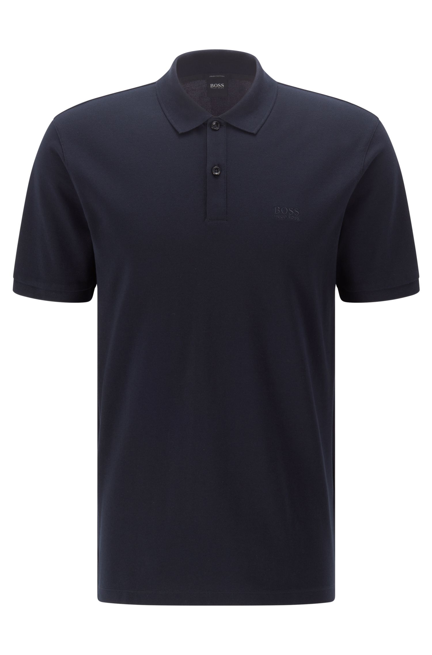 Regular-fit polo shirt in fine piqué, Dark Blue