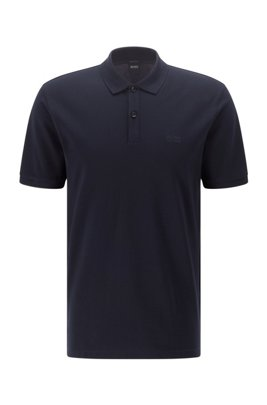 Regular-fit polo shirt in Pima-cotton piqué, ダークブルー