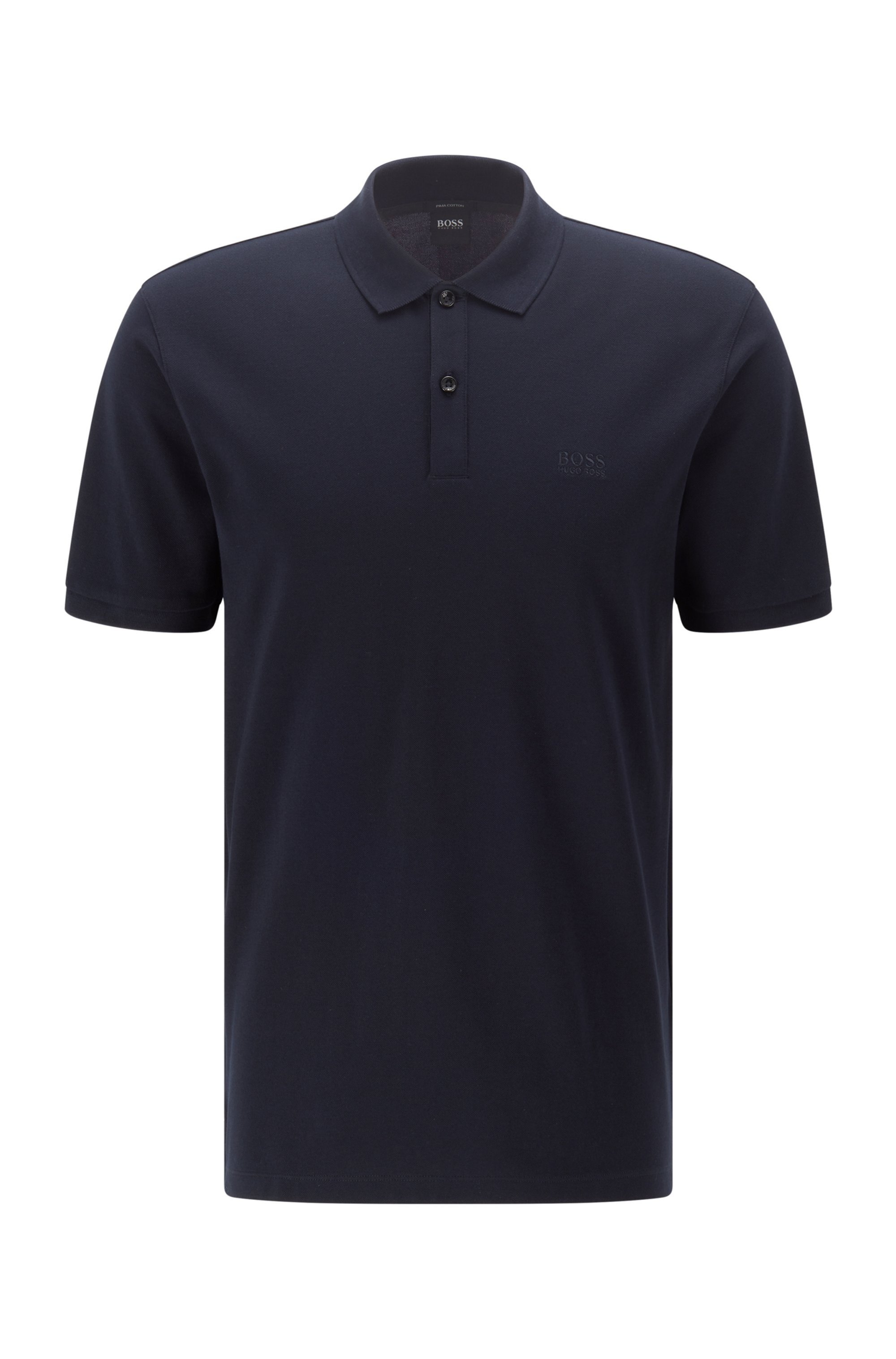 Regular-fit polo shirt in Pima-cotton piqué, Dark Blue