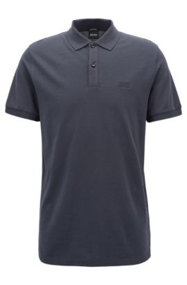 Polo regular fit en piqué fino, Azul oscuro