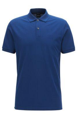 Polo regular fit in piqué elegante, Blu scuro