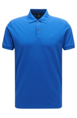 Regular-fit polo shirt in fine piqué, Blue