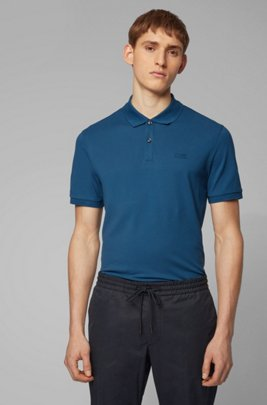 Polo Regular Fit en piqué fin, Bleu