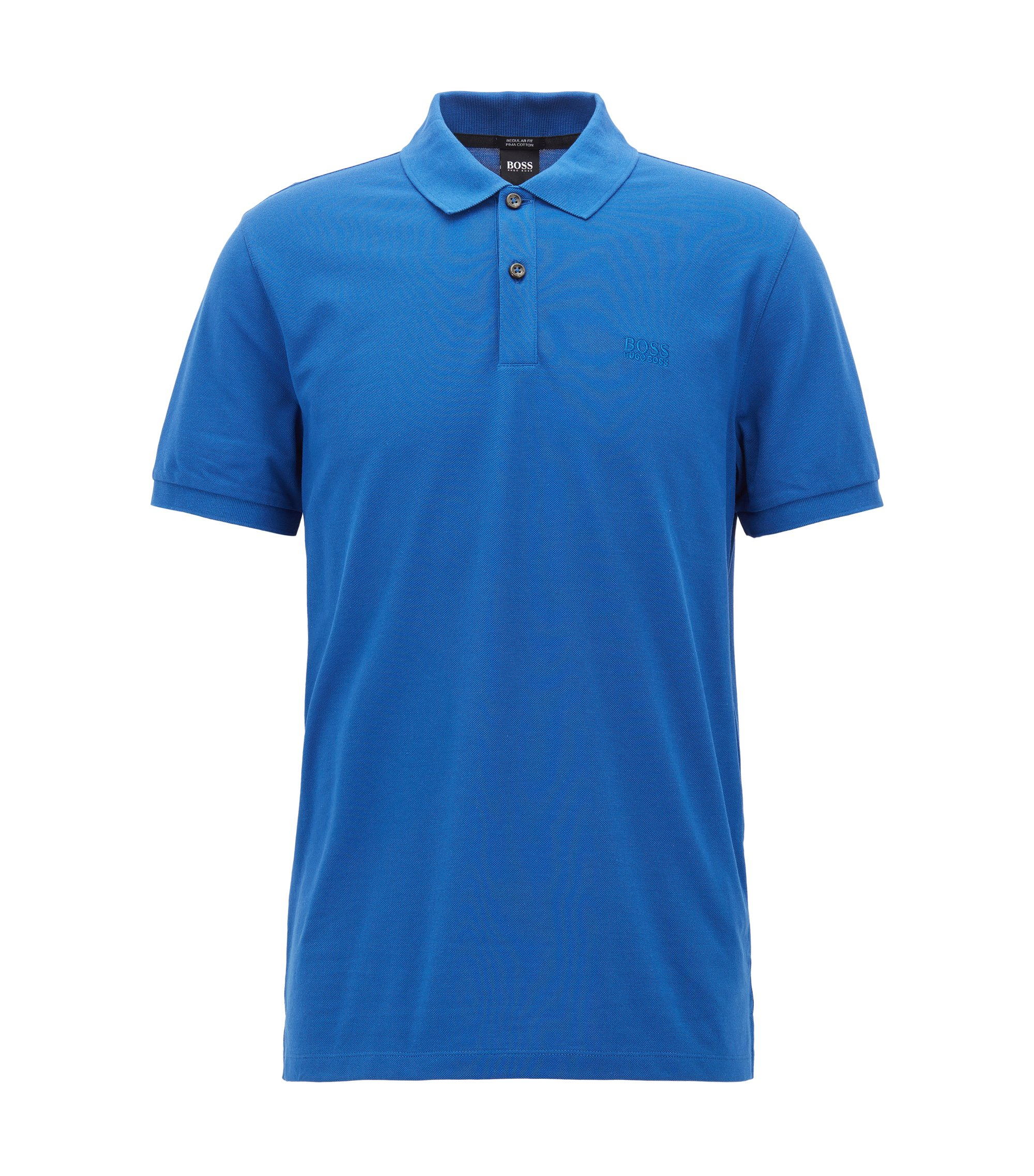 Polo regular fit in piqué elegante, Blu