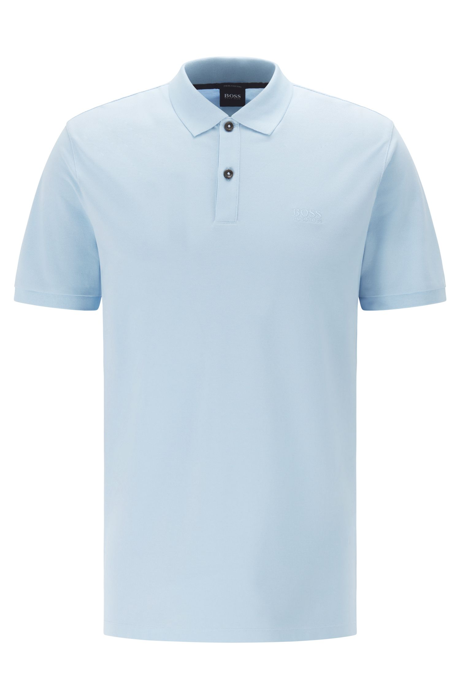 Regular-fit polo shirt in fine piqué, Light Blue