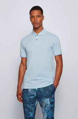 Regular-fit polo shirt in Pima-cotton piqué, Light Blue