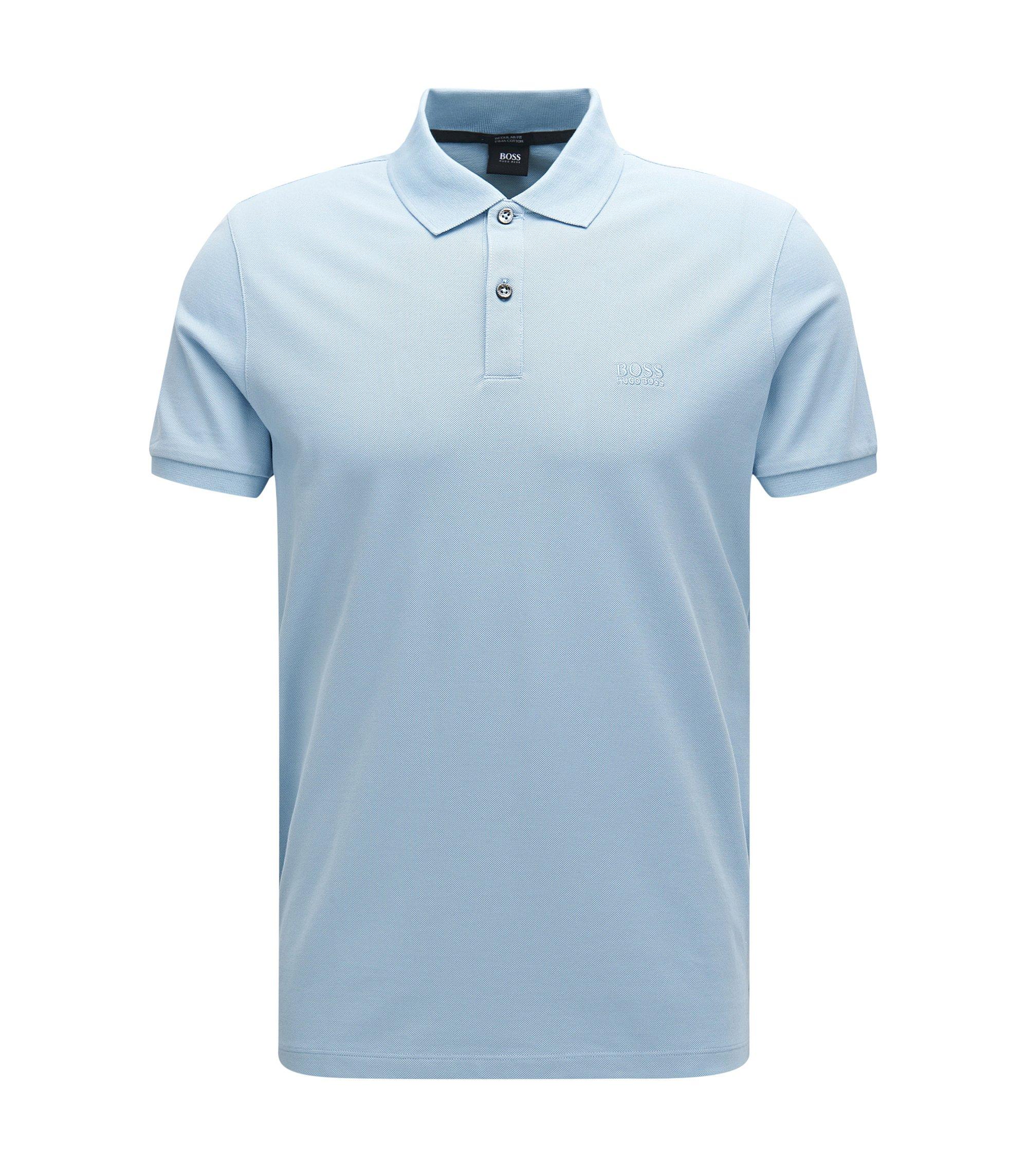 Regular-Fit Poloshirt aus feinem Piqué, Hellblau
