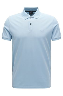 Polo regular fit en piqué fino, Celeste