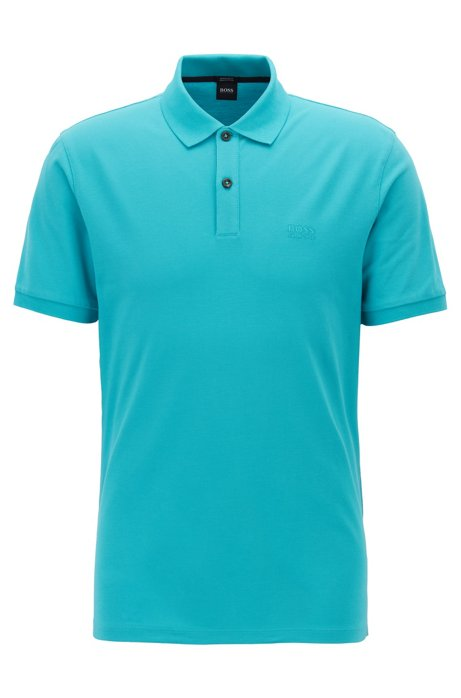 Regular-fit polo shirt in fine piqué, Turquoise