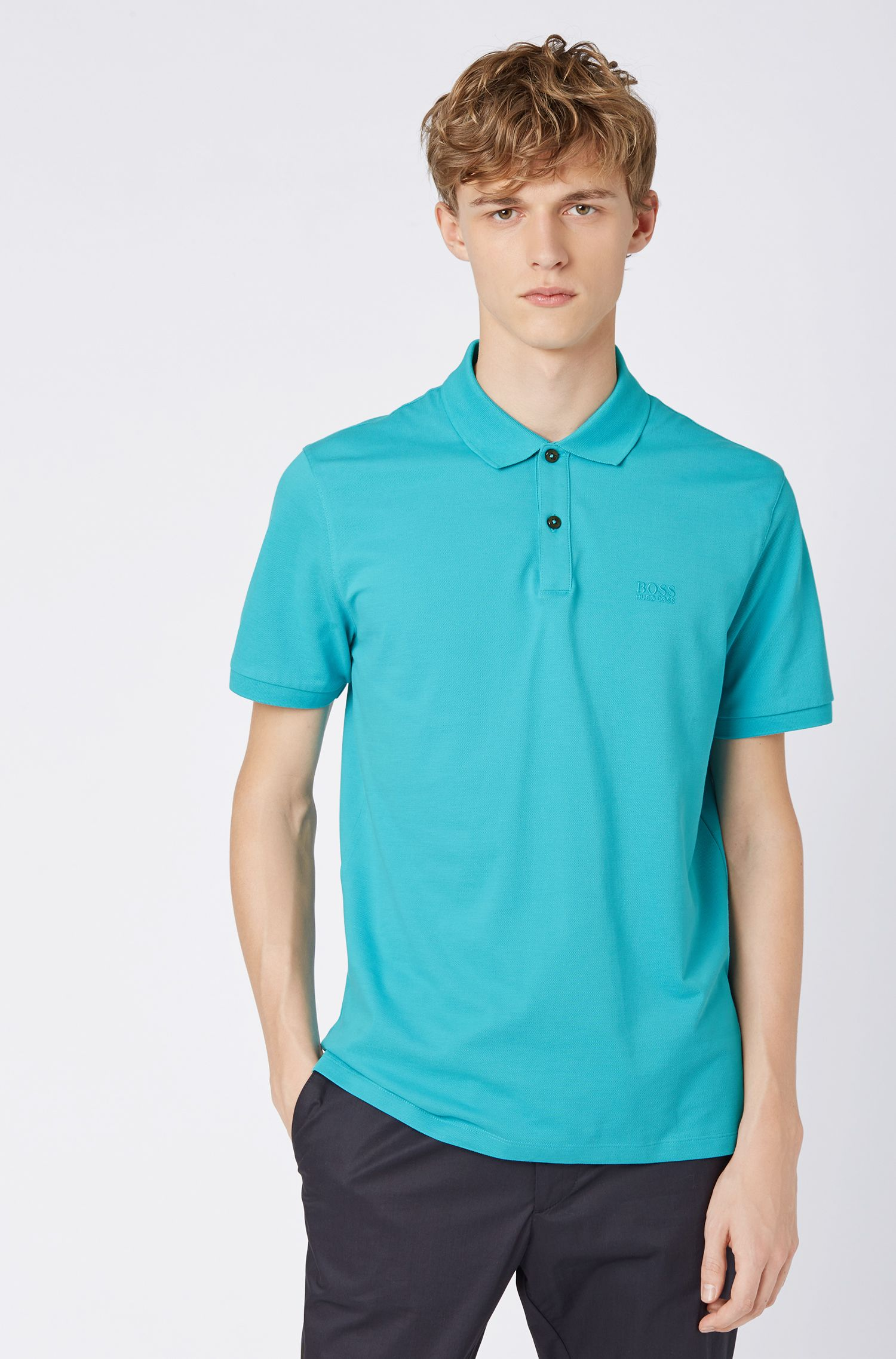 Polo regular fit en piqué fino, Turquesa