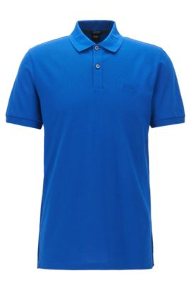 Polo regular fit en piqué fino, Azul