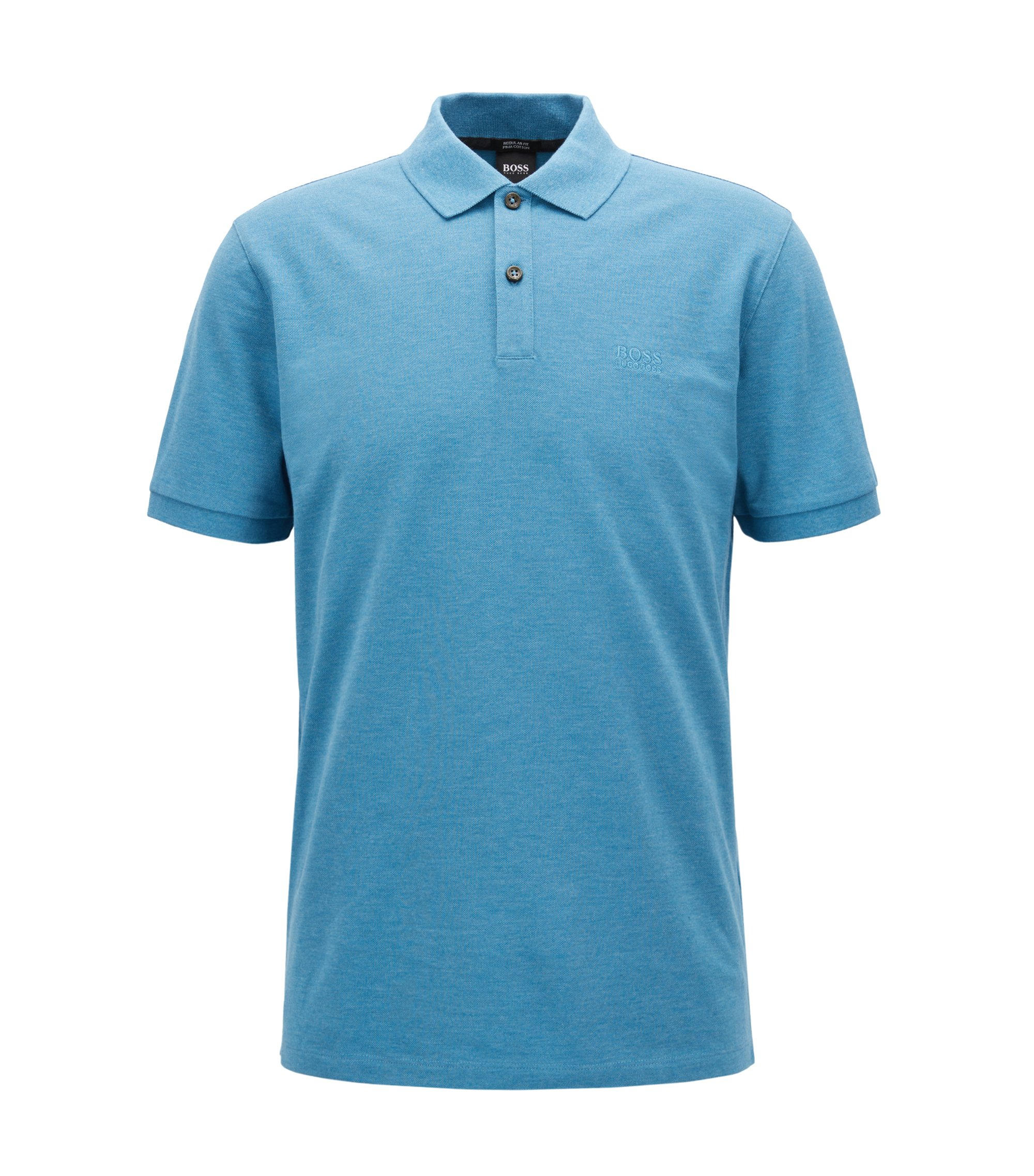 Polo regular fit in piqué elegante, Blu