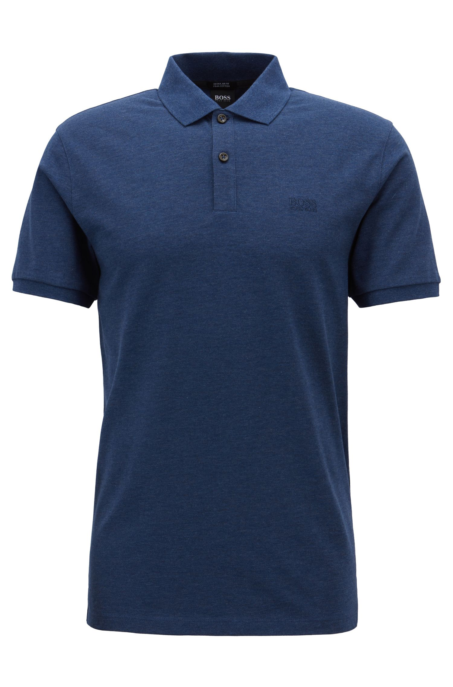 Regular-fit polo shirt in fine piqué, Open Blue