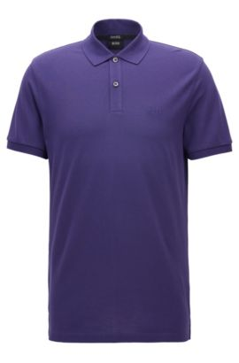 Polo regular fit in piqué elegante, Viola scuro