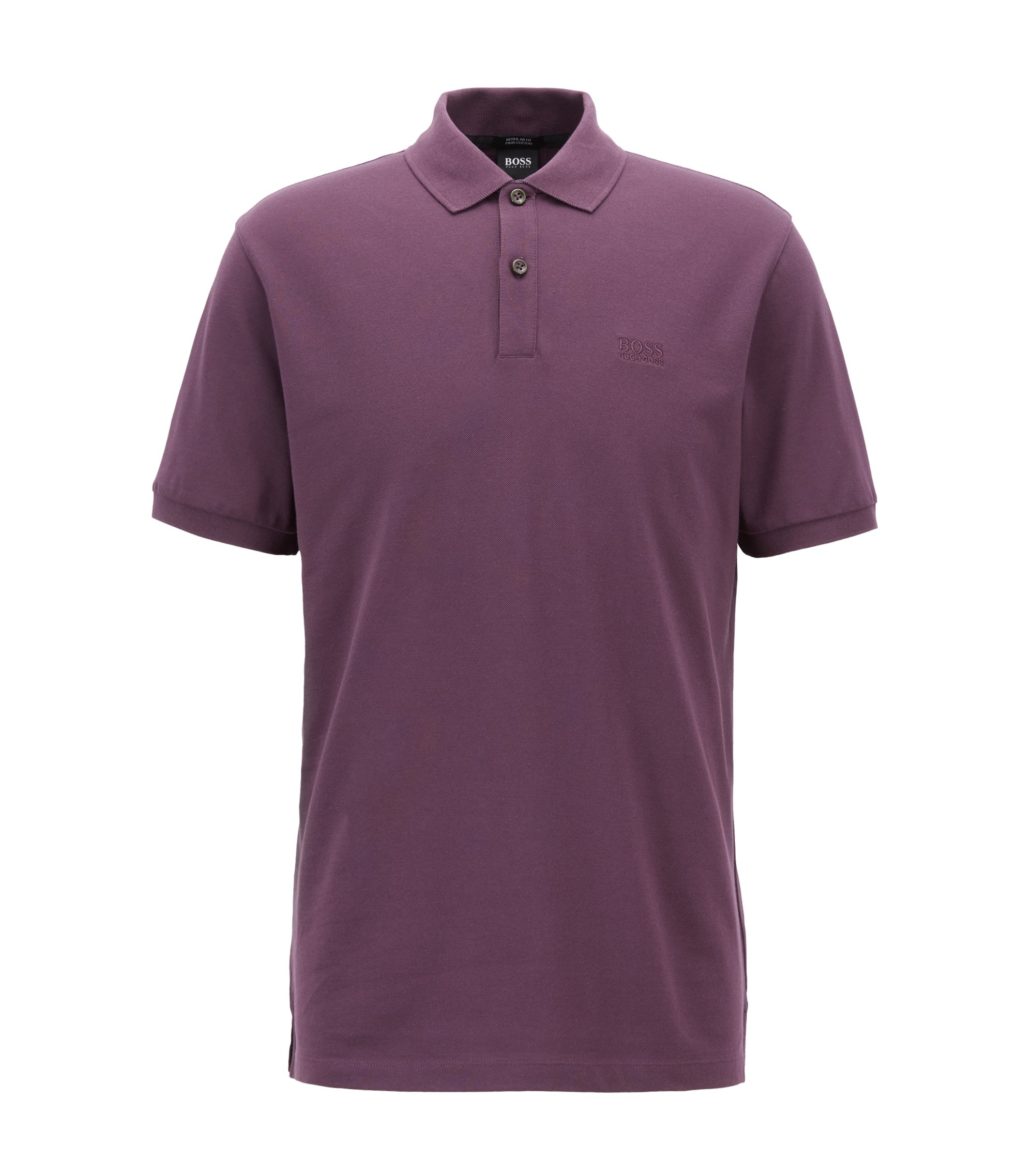 Regular-fit polo shirt in fine piqué, Dark Purple