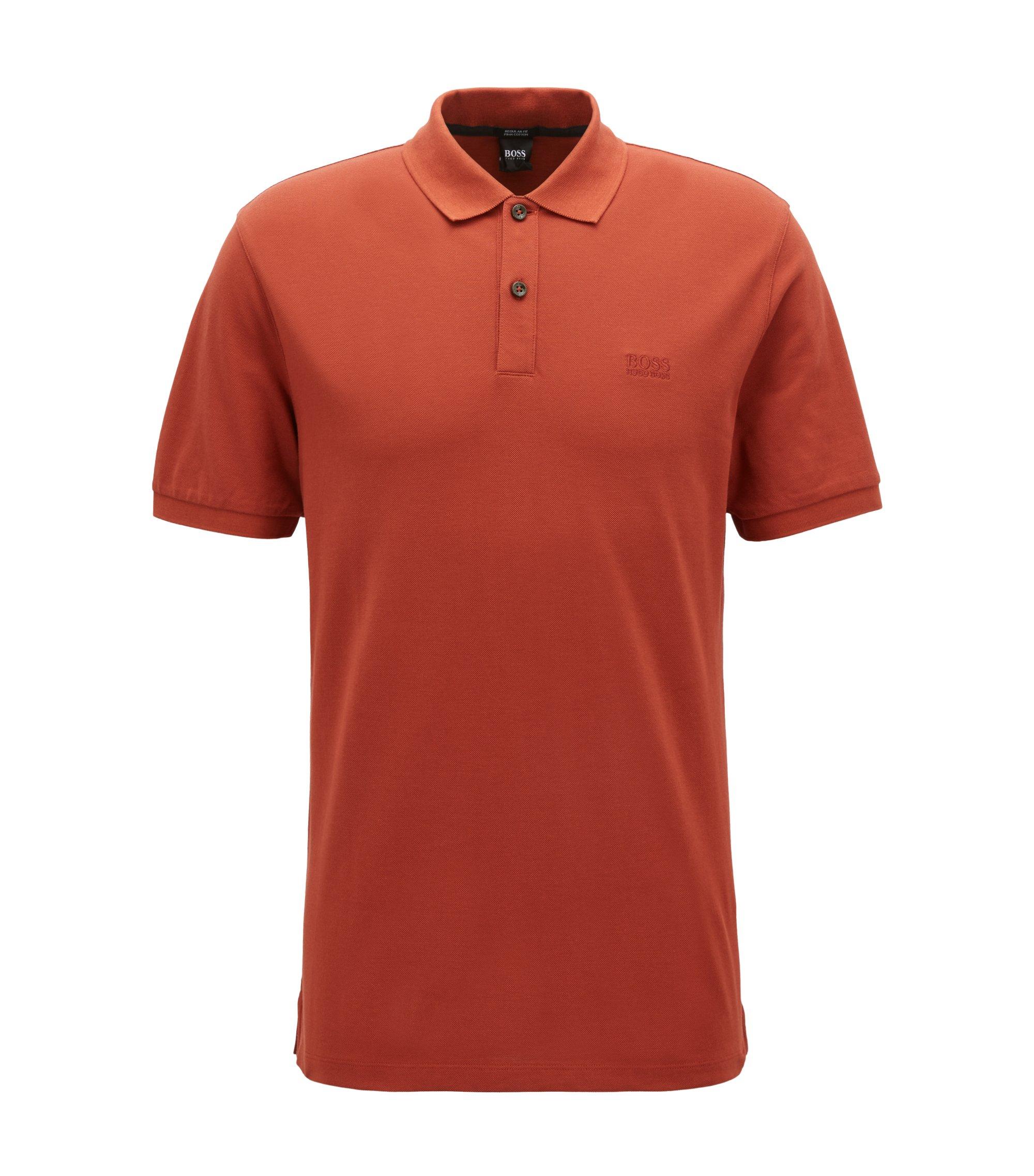 Regular-fit polo shirt in fine piqué, Dark Red