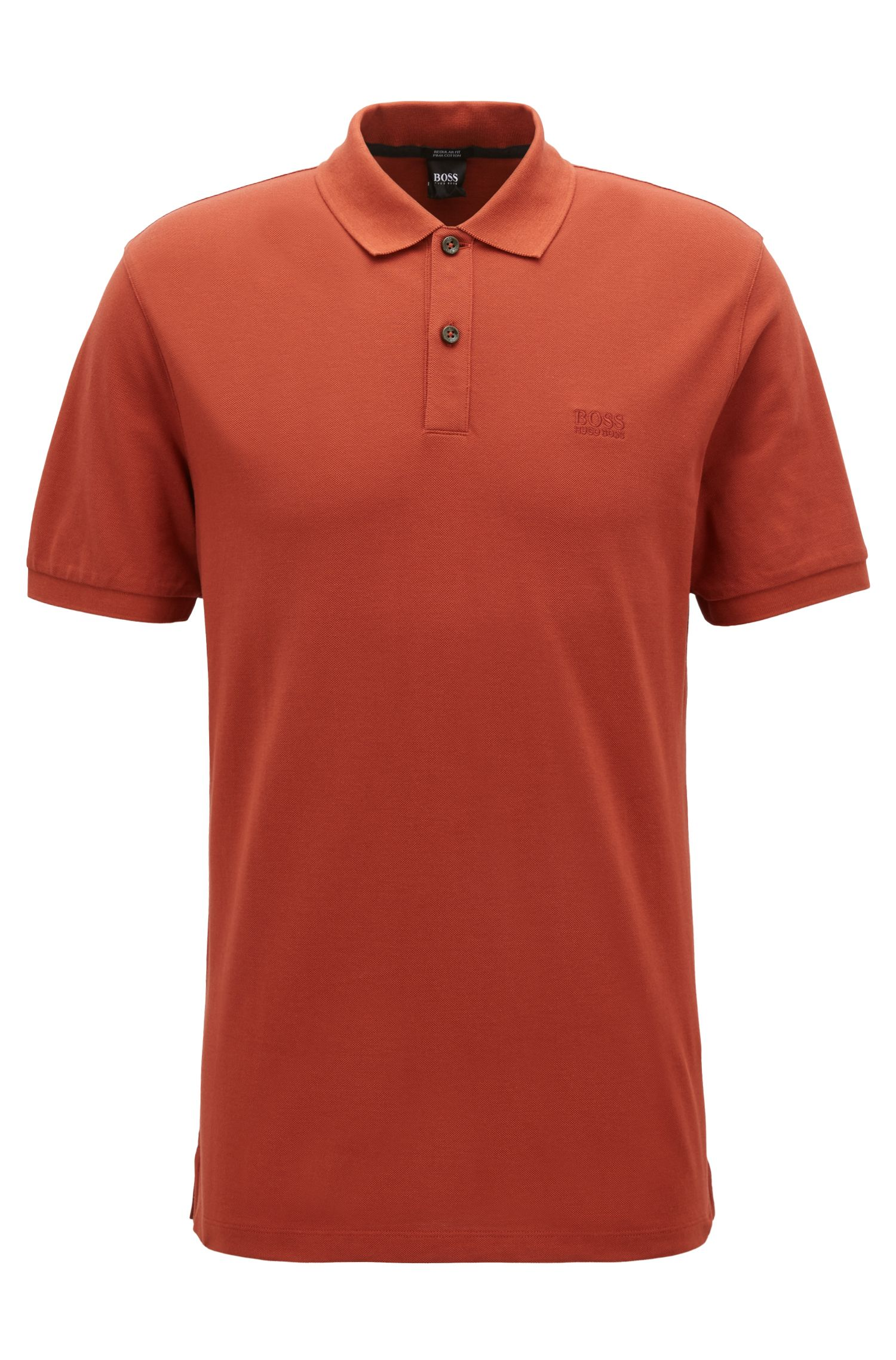 Polo regular fit in piqué elegante, Rosso scuro