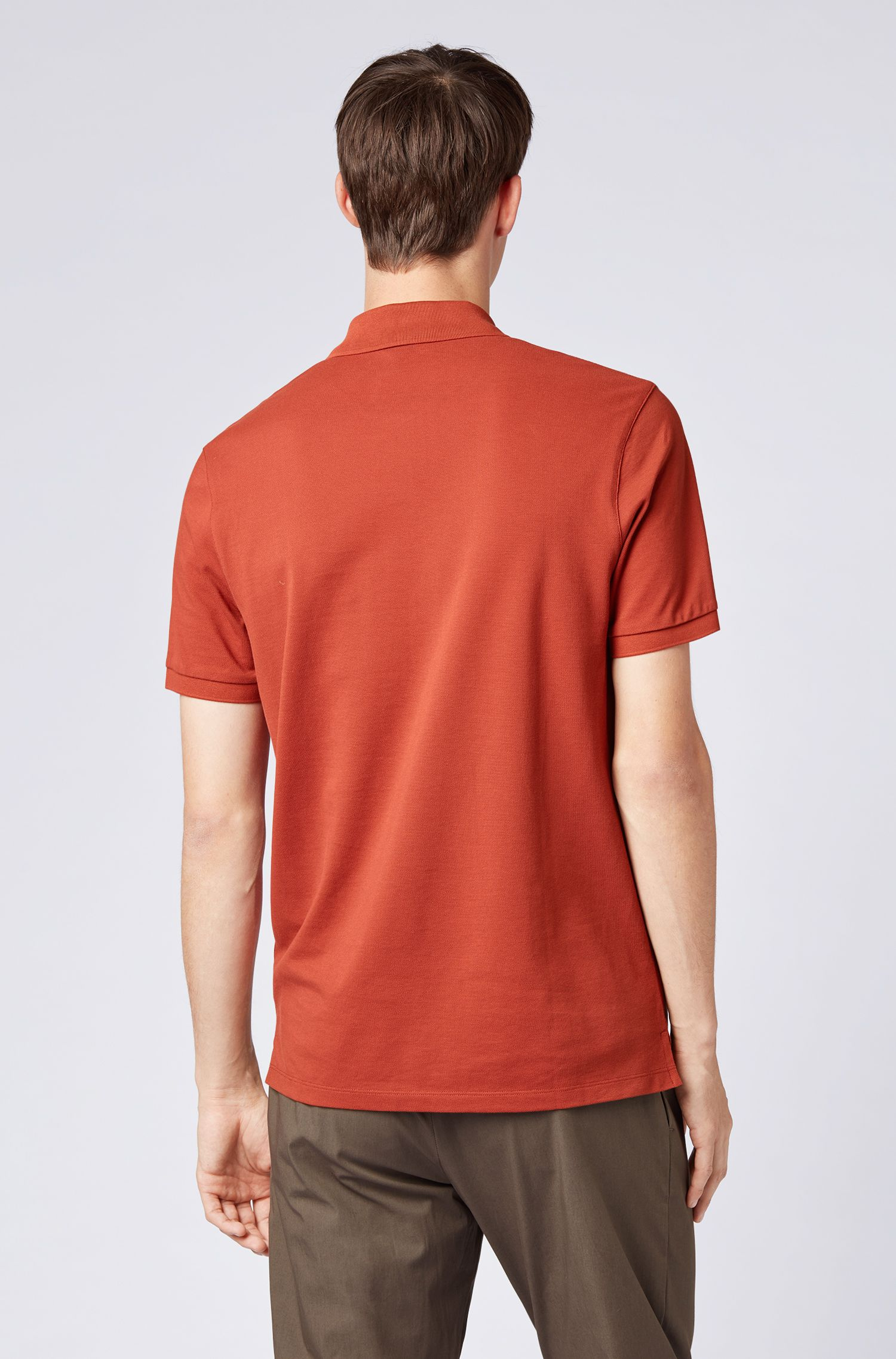Regular-fit polo shirt in fine piqué, Dark Red
