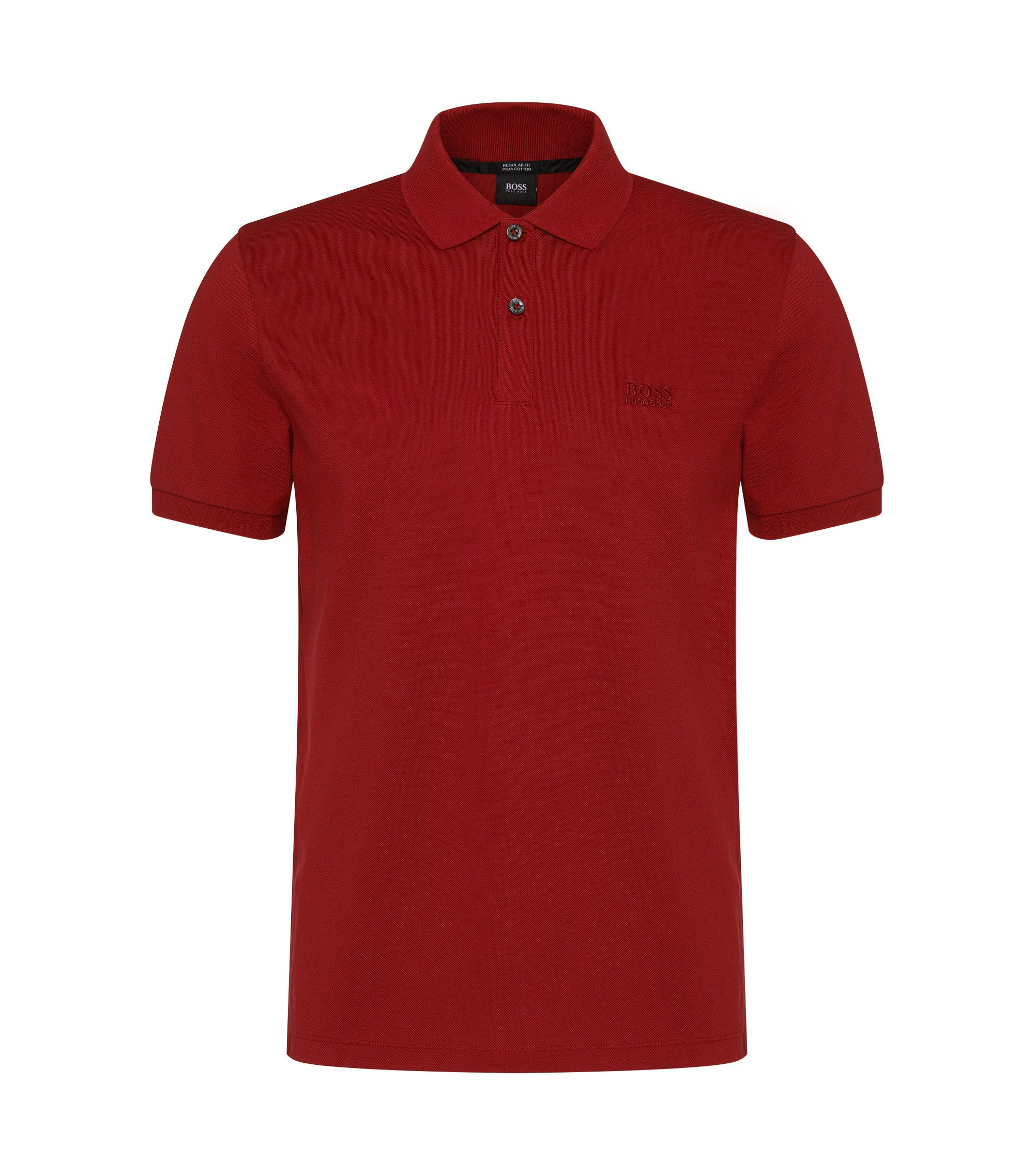 Polo regular fit in piqué elegante, Rosso