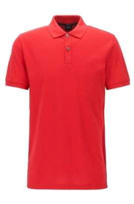 Polo regular fit en piqué fino, Rojo