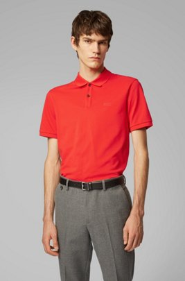 Polo Regular Fit en piqué fin, Rouge