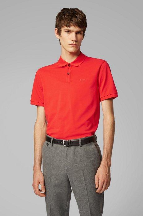 Polo regular fit en piqué fino, Rojo