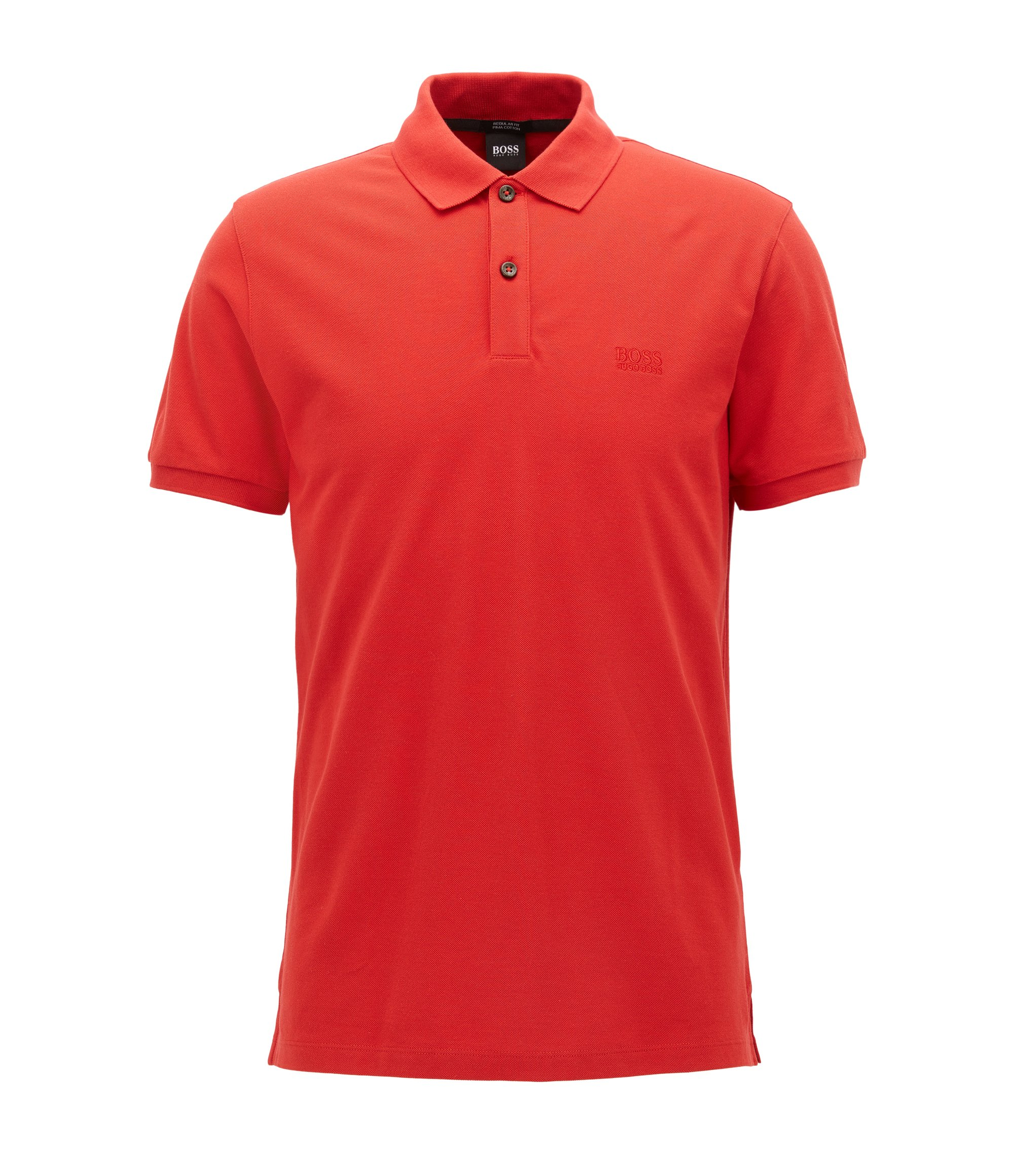 Regular-fit polo shirt in fine piqué, Dark pink