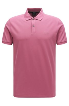 Regular-fit polo shirt in fine piqué, Pink